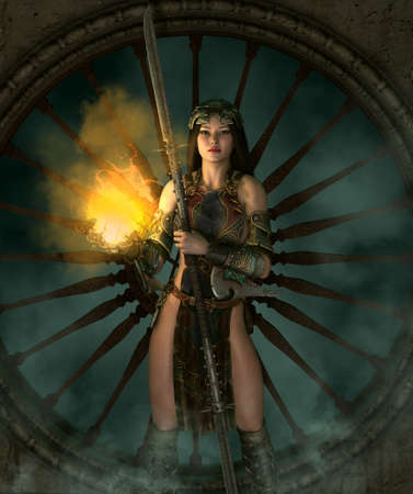 3d computer graphics of a young woman with a fantasy outfit and a weapon Stock Photo