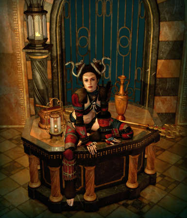 3d computer graphics of a fantasy scene with a woman in enchantress clothing photo