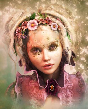 그녀의 머리에 색된 꽃을 가진 소녀의 3d 컴퓨터 그래픽 스톡 콘텐츠