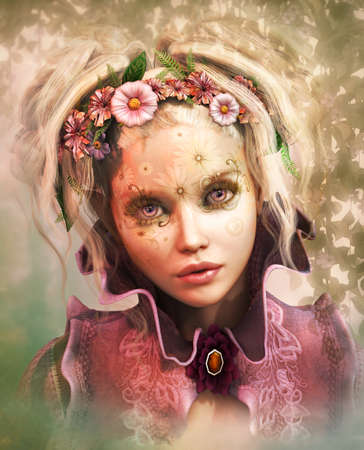 beauty woman face: 3d computer graphics of a Girl with colored flowers in her hair
