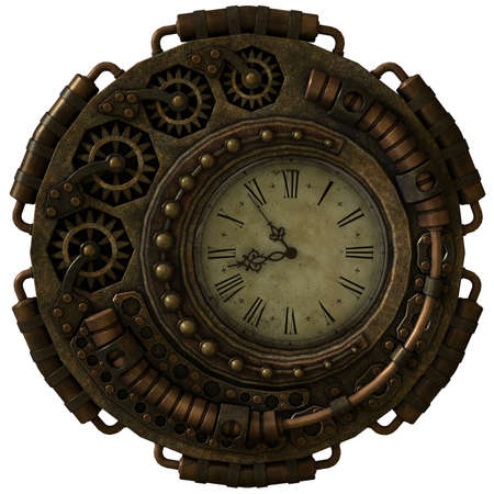 a 3d computer graphics of a clock in Steampunk style Stock Photo
