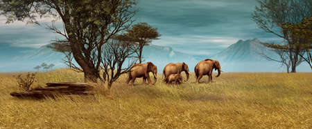 3D computer graphics of a elephant herd in the African savanna
