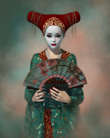 enchanting: 3d computer graphics of a girl with Japanese fantasy clothing and fan