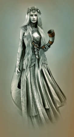 cornucopia: 3d computer graphics of a young woman with platinum blonde hair and a drinking horn