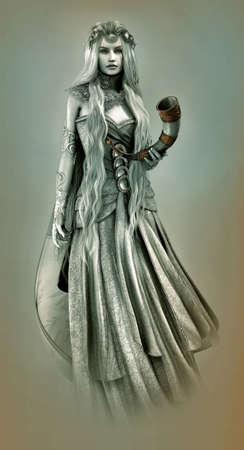 cuerno de la abundancia: Gráficos por ordenador en 3D de una mujer joven con el pelo rubio platino y un cuerno de beber