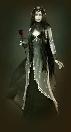 robes: 3d computer graphics of a young woman with long black hair and a red rose