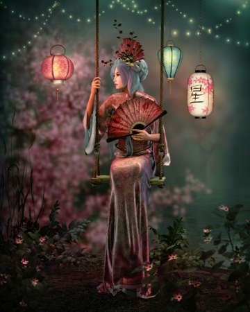 3d computer graphics of an Asian fantasy scene with a lady in a kimono, sitting on a swing Stock Photo
