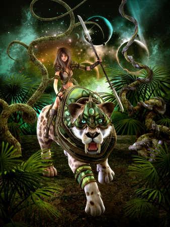 소녀와 세이버 - 이빨 호랑이와 판타지 장면의 3 차원 컴퓨터 그래픽 스톡 콘텐츠