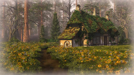 cartwheel: 3D computer graphics of a summer landscape with cabin in the woods Stock Photo
