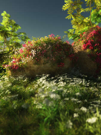 mountin: 3D computer graphics of a landscape with meadow, stones and blooming plants