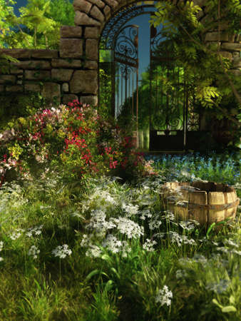 mountin: 3D computer graphics of a garden with gate, bucket and blooming plants Stock Photo
