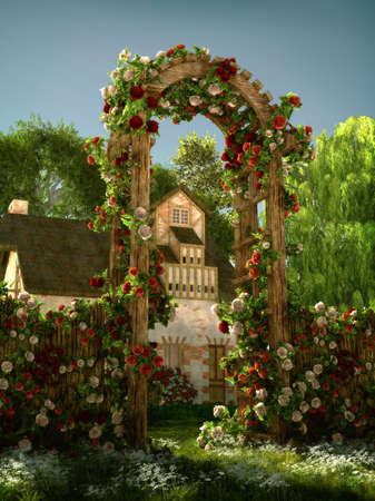 3D computer graphics of an arch of red and white roses Stock Photo