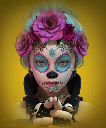 3D computer graphics van een schattig meisje met suiker schedel make-up
