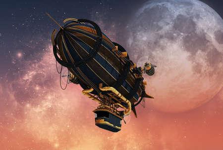 3D computer graphics van een Zeppelin in Steampunk stijl