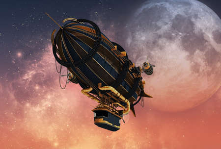 transport: 3D-Computergrafik eines Zeppelin in Steampunk-Stil Lizenzfreie Bilder