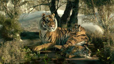 undergrowth: 3d computer graphics of a tiger mother with two babies