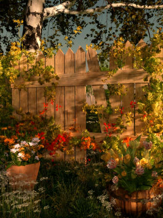 idyll: 3d computer graphics of a garden scene with broken fence and potted flowers