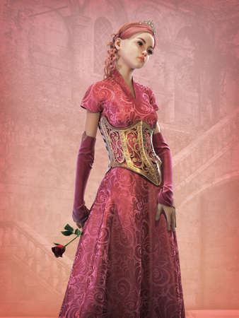 3d doll: 3d computer graphics of a cute fairytale princess with red rose in her hand Stock Photo