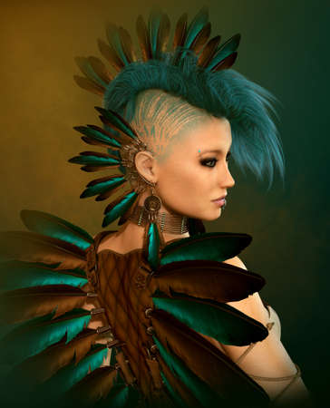 mohawk: 3d computer graphics of a young woman with feather jewelry and a Mohawk hairstyle Stock Photo