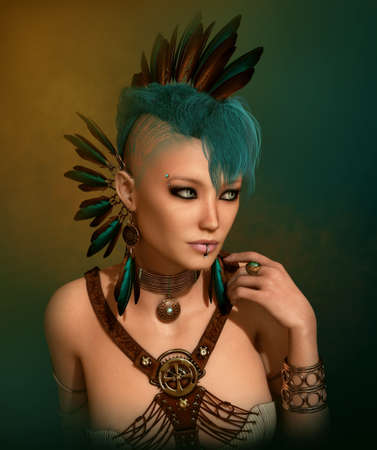 3d computer graphics of a young woman with a Steampunk outfit, feather jewelry and a Mohawk hairstyle