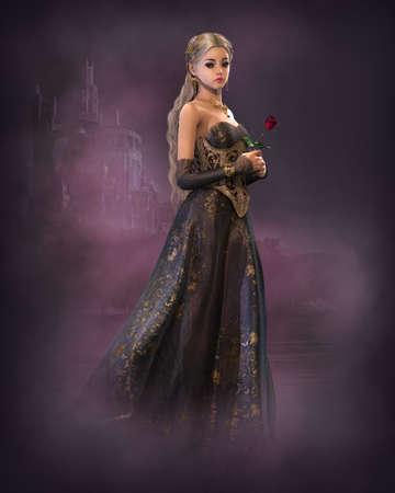 princesa: Gráficos por ordenador en 3D de una princesa de cuento de hadas lindo con rosa roja en la mano y un castillo de cuento de hadas en el fondo