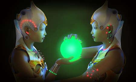 컴퓨터 그래픽: 3D computer graphics of two young woman with clothing and jewelry in science fiction style and a glowing ball