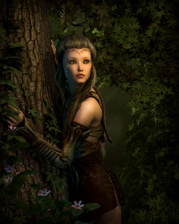 elf: 3d computer graphics of a girl, which leans against a tree