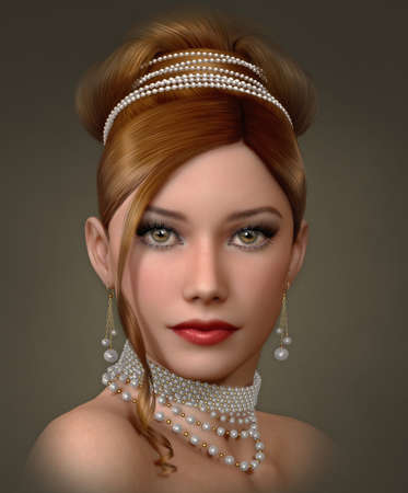 eyes hazel: 3d computer graphics of a portrait of lady with white pearls jewelry and evening hairstyle and makeup