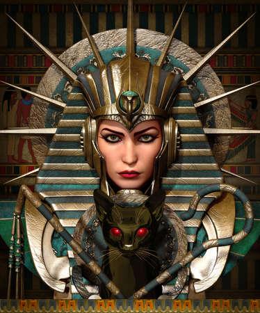 3D computer graphics van een jonge vrouw met een oude Egyptische make-up en kleding