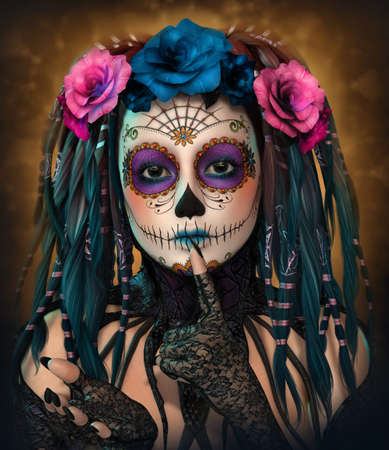 3d computer graphics of a young woman with sugar skull makeup
