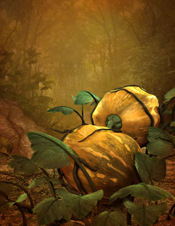 forest wood: 3d computer graphics of an autumn landscape  with pumpkins Stock Photo