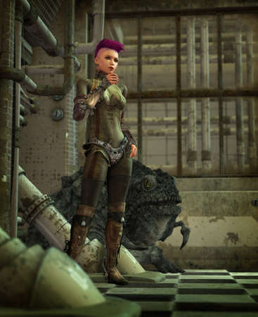 beautiful face: 3d computer graphics of a cyber punk girl with monster pet