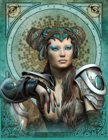 maquillaje de fantasia: gr�ficos por ordenador en 3D de una mujer joven con una armadura de la fantas�a y el tocado