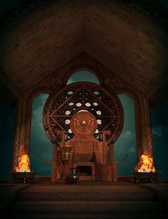 3d computer graphics of a Fantasy scene in Celtic style with throne and burners