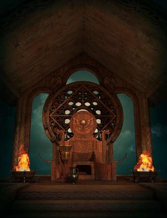 trono: gráficos por ordenador en 3D de una escena de la fantasía de estilo celta con trono y quemadores
