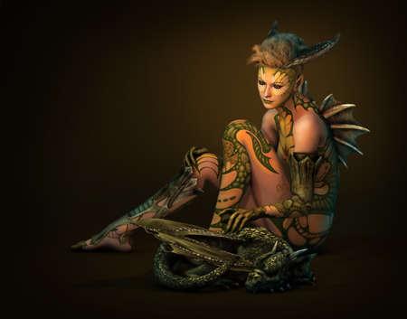 maquillaje fantasia: Gráficos por ordenador en 3D de una joven con el tatuaje de la piel del dragón y el bebé dragón