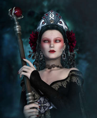 samhain: 3d computer graphics of a girl with clothing in Gothic style Stock Photo