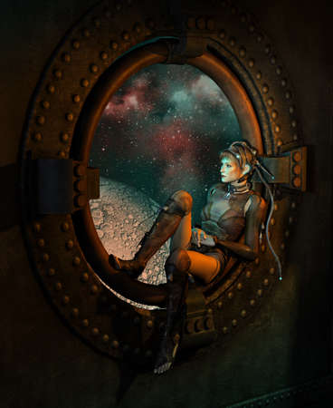 computer science: 3d computer graphics of a young woman with a fantasy science fiction dress sitting at round window, in the background the outer space