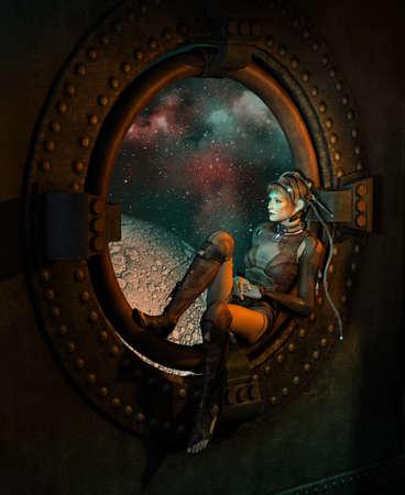 guerrero: Gráficos por ordenador 3D de una mujer joven con un vestido de fantasía de la ciencia ficción que se sienta en la ventana redonda, en el fondo del espacio exterior Foto de archivo