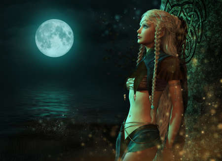 3d computer graphics of a fairy in the moonlight Stock Photo