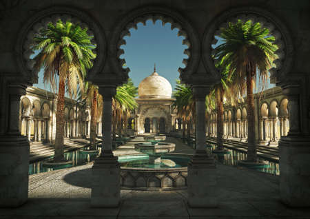 fountains: 3D computer graphics of an oriental palace with garden and fountain Stock Photo