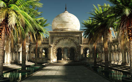 date palm: 3D computer graphics of an inner courtyard of an oriental palace