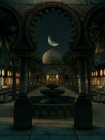 ambiance: 3D computer graphics of a romantic scene of an oriental palace with garden by night