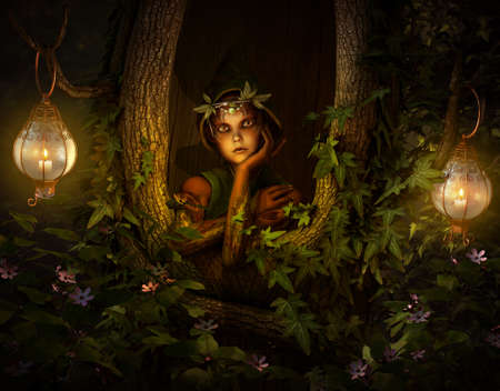 fairy light: 3d computer graphics of a pixie who looks out of a hollow tree Stock Photo