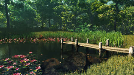 secluded: 3D computer graphics of a little lake with jetty and water lilies Stock Photo