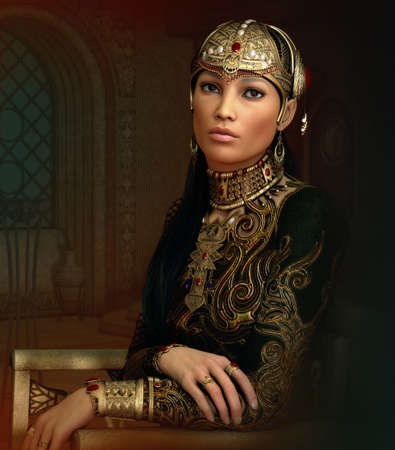 3D computer graphics of a fantasy portrait of a young woman with ancient Oriental jewelry and clothing