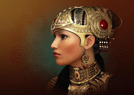 gráficos por ordenador en 3D de un retrato de la fantasía de una mujer joven con la joyería antigua Oriental