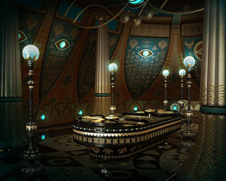 3d temple: 3d computer graphics of an interior in fantasy style with hieroglyphics on the wall and a sarcophagus in the middle of the room Stock Photo