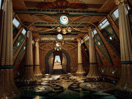 3D computer graphics van een tempel interieur in fantasy stijl met pilaren en hiërogliefen op de muren