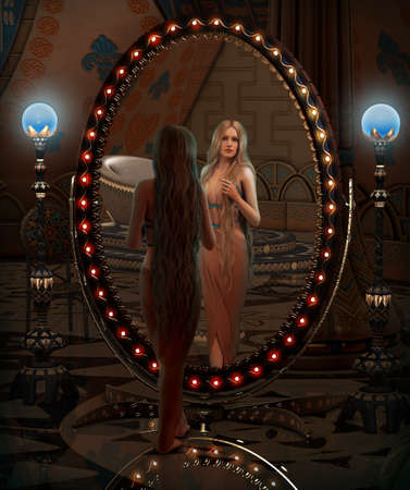 3d temple: 3d computer graphics of a young woman looking in a mirror Stock Photo